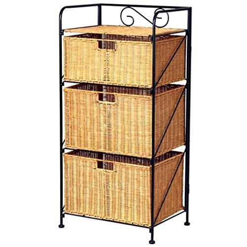 GAIHU Rattan Storage Gelb Schrank Schlafzimmer Kreative Bügeleisen Storage Rack Pastorale Drei Schubladen Aufbewahrungsbox Speicher (Schlafzimmer-rattan-schrank)