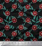 Soimoi Noir Mousse Georgette en Tissu Feuilles et Fleurs Artistique Tissu a Coudre Imprime par Metre 42 Pouce Large
