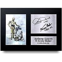 Anthony Daniels & Kenny Baker Los Regalos Firmaron A4 la Dedicatoria Impresa Star Wars C-3PO & R2-D2 La Foto de Impresión Imagina la Demostración