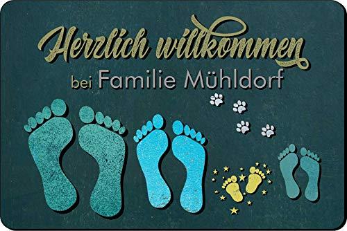 Verlag HE Fußmatte Füße/Pfoten Holz Vintage (Anzahl frei wählbar) | personalisiert | Name | lustig | Geschenk | Hund | Katze Wunsch Idee