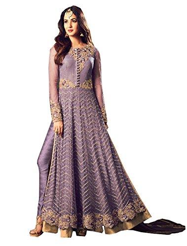 Special Mega Sale Festival Offer C&H Purple Georgette Embroidery Designer Anarkali Salwar...