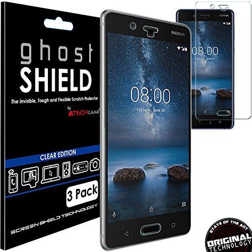 TECHGEAR [3 Pezzi Pellicola Protettiva Compatibile con Nokia 8 [ghostSHIELD Edizione] Proteggi Schermo Rainforzata Flessibile TPU Pellicola Copertura per Schermo Intero su Schermo Curvo