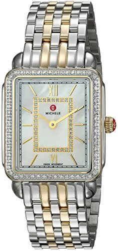 MICHELE Women's 'Deco II' Swiss Quartz Stainless Steel Casual Watch, Color:Two-Toned (Model: MWW06I000004)