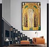 yangwuju Bacio Foto Secessione di Gustav Olio di Klimt Pittura su Tela Poster E Stampe Immagine di Arte della Parete per Soggiorno-40x60cm with Frame