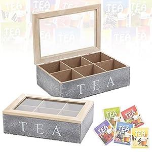 Boîte à thé compartimentée en bois - Couvercle à charnière en verre