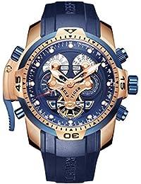 Reef tigre para hombre complicado azul reloj negro de goma oro rosa militar reloj rga3503