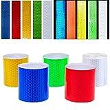 Nastro Riflettente - WENTS Reflective Tape - 5 Pacchi 5cm x 3m Adesivi di Avvertenza di Sicurezza, forte adesione e impermeabilità, altamente riflettente Alta visibilità, 5 colori