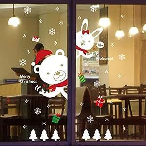 Tuopuda® Noël Autocollants Fenetre Noël Magasin Fenêtre Décoration Stickers Muraux (blanc)