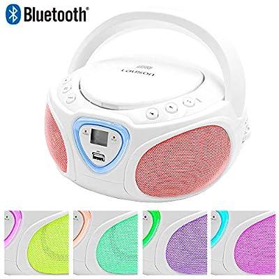Lauson Radio CD Bluetooth | USB | Lecteur CD Portable pour Enfants | Lumière LED Effet Disco | AM/FM de Lauson