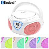 Lauson CP451 Boombox Tragbarer Bluetooth Radio CD USB MP3 Radio (am/fm) mit Beleuchtung LED-Effekt