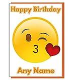 Personalisierte Emoji-Love Herz Kiss Geburtstag Karte–Jeder Name und Alter Druck auf der Vorderseite