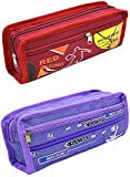 #4: LEVENGER Printed Pencil Pouch For Kids Boy and Girls - 2 Pcs. Combo Fancy stationary Pouch - PCMB561
