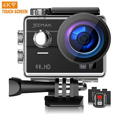 Jeemak Action Cam 4K WiFi 16MP Ultra HD Impermeabile 170° Grandangolare camera Telecomando Due 1050mAh Batterie e Kit Accessori