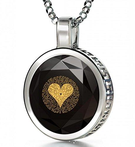 925 Sterling Silber Ich Liebe Dich Halskette Graviert in 120 Sprachen mit 24k Gold auf 16mm Zirkonia Anhänger in Schwarz, 45cm Silberkette