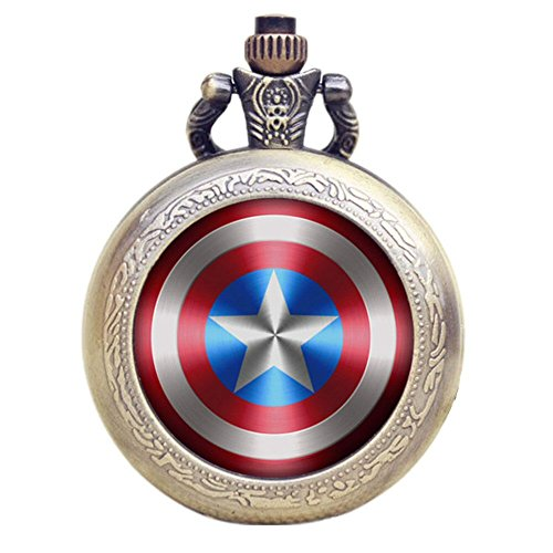 Captain America Shield Antik Bronze Effekt Retro/Vintage Case Herren Quarz-Taschenuhr Halskette-auf 81,3cm Zoll/80cm Kette -