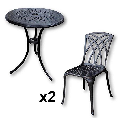 Lazy Susan   ELLA 60 Cm Bistrotisch Mit 2 Stühlen   Rundes Gartenmöbel Set  Aus Metall, Antik Bronze (MAY Stühle)