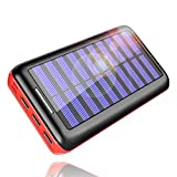 PLPOCHY 24000mAh Portable Phone Charger Solar Power Bank External Battery with Three 2.4A