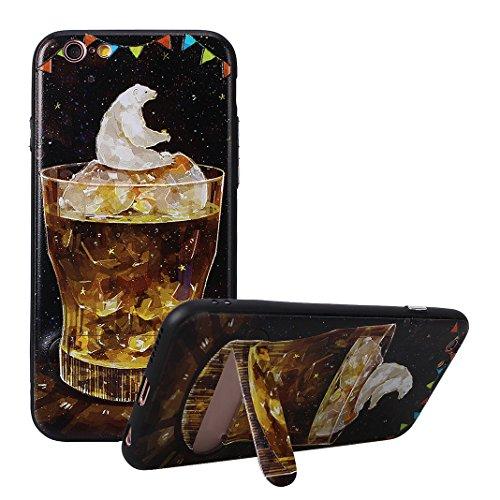 Coque Dure Pour iPhone 6 Plus / 6S Plus, Asnlove 2 in 1 TPU Silicone et PC Plastique Cas Relief Étui Mode Motif Exquis Housse Sentiment Mystique Cover Soulagement Case Noir Rigide Shell, Style-1 Style-9