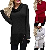 #4: Preferential New Ieason Women's Pullover Sweatshirt Casual Long Sleeve Button Cowl Neck Tunic Tops