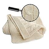 SonnenStrick 3009009 Babydecke/Kuscheldecke / Strickdecke 100 Prozent Bio Baumwolle mit Zopfmuster, creme