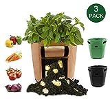 LEHOUR 3-Pack 7 Gallons Potato Planter Bag Tessuto Non Tessuto Verdure Grow Pot per Coltivare Il Tuo Patio Garden: Patate, Carote, pomodori, Cipolla (Nero + Marrone + Verde)