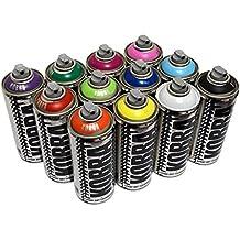 Kobra Spray Paint - 12 x 400ml Aerosol Spray Paint Cans - Matt Finish, Acrylic Paint