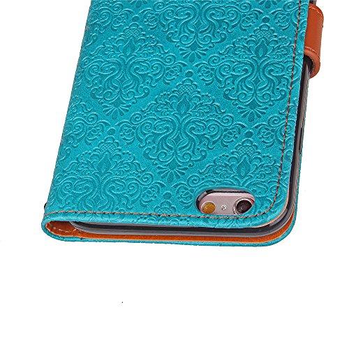 iPhone 6/6s 4,7 Coque, Voguecase Étui en cuir synthétique chic avec fonction support pratique pour Apple iPhone 6/6s 4,7 (Fresques européennes-Bleu)de Gratuit stylet l'écran aléatoire universelle Fresques européennes-Bleu