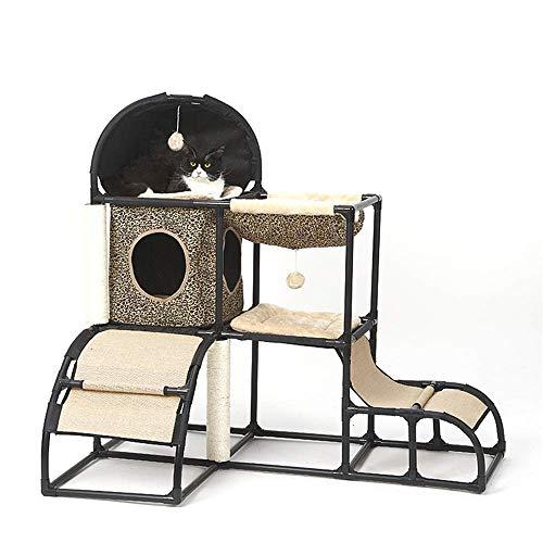 HUJPI Katzen Baum mit Hängematte, Katzen Turm Sisal Katzen Kratzbaum Katzen Kletterturm Katzen kratzbaum Katzen Spielzeug für die Wiedergabe Relax and Sleep,1_107 x 80 x 120cm
