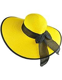 DRESHOW Sombrero de playa Floppy para mujer Sombrero de paja de ala ancha  Sun Roll Roll bb21787d9ac