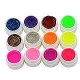 jhtceu Nagelgel Set 12 verschiedene Farben Glitter Acryl UV Gel Builder für Nagelkunst künstliche Tips Set