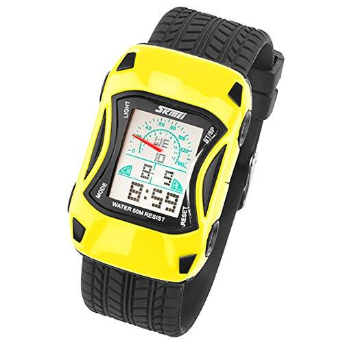 banduhr Silikon Sportuhr Bunte Uhr Stoppuhr Auto Motiv mit Alarm Digital Quartz Gelb ()