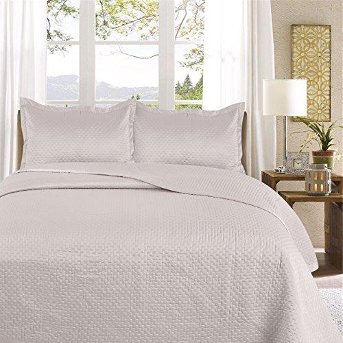 Uni Couette chaude pour lit Patchwork Édredon Jeté de lit   Polysatin   Taille 220 x 240 cm   Samphira Argent   par Mode de coton