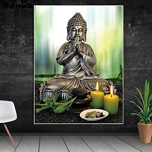 Diamante Pittura Buddha Pietra Fiore Candela Piena Piazza/Punta Rotonda Diamante 5D Fai da Te Mosaico Punto Croce Decorazioni per la casa Regalo Fatto a Mano,50x65cm