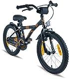 Prometheus Kinderfahrrad 18 Zoll Jungen Mädchen Schwarz Matt Orange ab 6 Jahre mit Alu V-Brake und Rücktritt - 18zoll BMX Modell 2019
