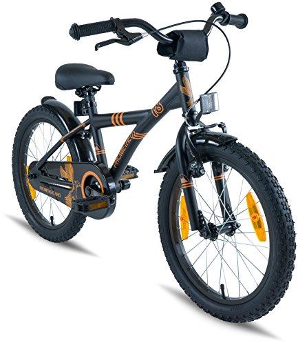 fahrrad schwarz matt Prometheus Kinderfahrrad 18 Zoll Jungen Mädchen Schwarz Matt Orange ab 6 Jahre mit Alu V-Brake und Rücktritt - 18zoll BMX Modell 2019