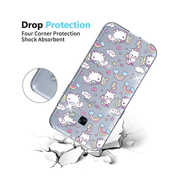 OKZone Galaxy A520 / A5 2017 Case with Screen Protector, Clear Cute Pattern Design Soft & Flexible TPU Ultra-Thin Shockproof Women Cover Cases for Samsung Galaxy A520 / A5 2017 (Unicorn) OKZone Compatible with Samsung Galaxy A520 / A5 2017. Package Includes: 1 x Phone Case + 1 x HD Screen Protector. Ultra-Clear: Slim, transparent protective bumper case body reveals and enhances the original color of the Samsung Galaxy A520 / A5 2017. Made of high quality soft TPU which is safe and protective, light weight which fits your phone perfectly. 3