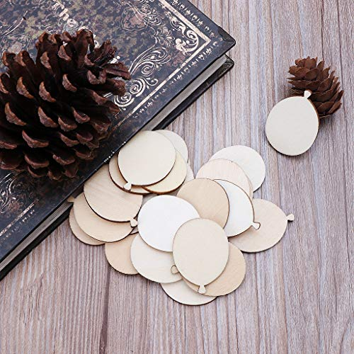 Freshsell 25pcs Laser Cut Wood Balloon Embellishment Wooden Shape Craft Wedding Decor
