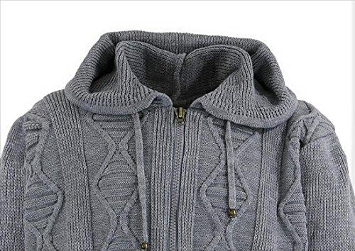 199c5c110a6d Herren Designer Strickjacke in Übergröße mit Reißverschluss und Kapuze von  Lavecchia in schwarz Grau