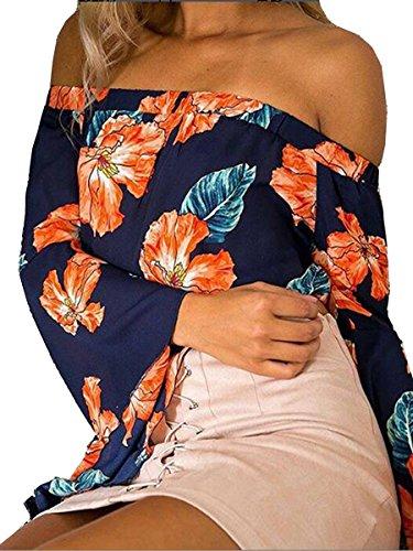 ECOWISH Damen Lange Ärmel Schulterfrei Blumenmuster Locker T Shirt Lässige Oberteil Tops Bluse Marineblau M