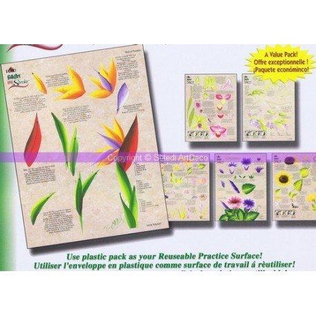Base technique One Stroke Floral Fun, Kit de 3 feuilles réutilisables