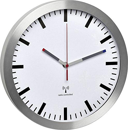 TFA Dostmann Analoge Funk-Wanduhr, leise Uhr, mit Aluminium-Rahmen, Funkuhr, weiß, 60.3528.02