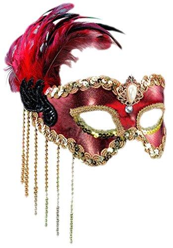 auen Feder Maske, Maskenball, Maskerade, Kostümball, Rot-Schwarz-Gold (Rot Und Gold Fancy Maske)