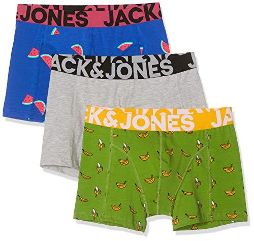 JACK & JONES Jactom Trunks 3 Pack Bóxer, (Light Grey Melange Detail:...