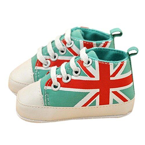 Ouneed® Toile Chaussures de bébé/ Baby Girl Anti-Slip Chaussures Toddler semelle souple (14, Bleu clair) Vert