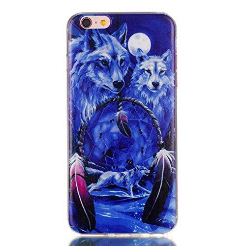 Coque iPhone 6 Plus / 6s Plus,Coffeetreehouse Motif soft coloré de motif estampé TPU Ultra Mince Anti-Scratch Back Cover pour iPhone 6 Plus / 6s Plus-Deux loups
