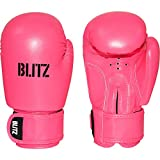 BLITZ KIDS CHILDS 6oz BOXING KICKBOXING THAI GLOVES BAG MITTS BOXERCISE SPARRING COLOUR NEON PINK