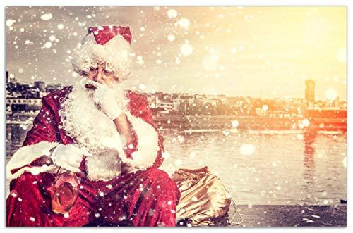 Wallario Herdabdeckplatte/Spritzschutz aus Glas, 1-teilig, 80x52cm, für Ceran- und Induktionsherde, Motiv Christmas-Party - Weihnachtsmann mit Schnaps und Zigarre