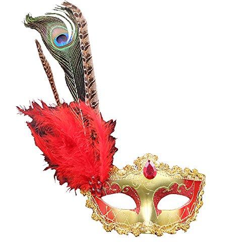 e Ballmaske Venedig Prinzessin Maske Gesichtsmaske mit Pfauenfedern für Karneval Halloween Party Kostüm Cosplay Requisiten Fasching Party Verrücktes Kleid Ball - Rot (Schwarze Und Rote Maskerade Masken)