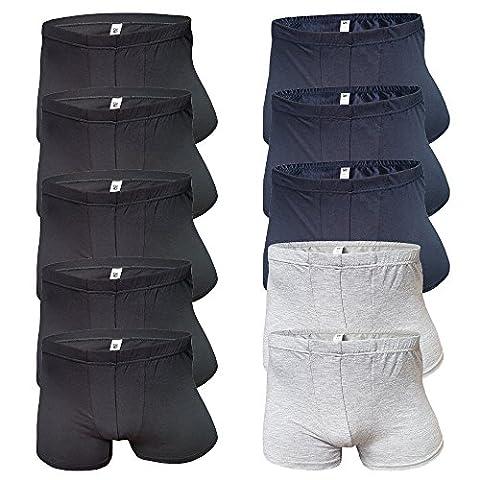 10-er Spar-Pack ★ Shorts für Männer ★ Boxershorts-Herren-Unterwäsche-Baumwolle ★ Unterhose Schwarz Grau Blau ★ Boxershort Unterhosen Set von SGS (M/ 5/ 48, 10-er