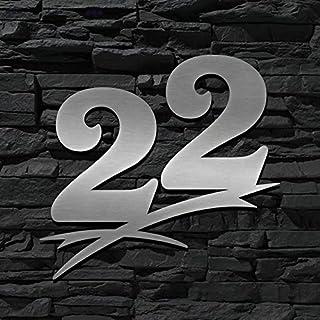 Hausnummer Edelstahl 22 ( 16cm Ziffernhöhe ) - 16cm 20cm 30cm 40cm 50cm - ORIGINAL ALEZZIO DESIGN - V2A - Türschild - LEICHTE MONTAGE - WITTERUNGSRESISTENT …